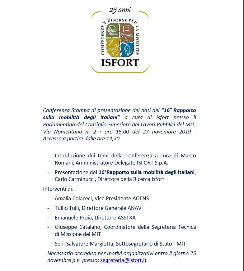 Isfort: 16° Rapporto sulla mobilità degli italiani