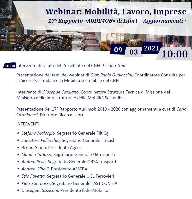 17° Rapporto Audimob Isfort: Mobilità, Lavoro, Imprese